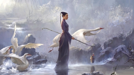 Path of Swans - art, fantasy, bird, eastern, painting, swan, women, landscape