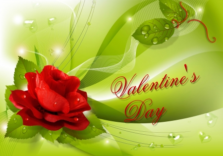 Happy Valentine's day! - pretty, lovely, holiday, rose, beautiful, drops, valentine, happy, leaves, love