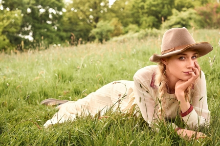 Beauty - cowgirl, model, grass, braid, blonde, woman, girl, green, elizabeth debicki
