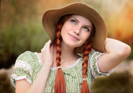 Beauty - girl, model, redhead, woman, braids, hat