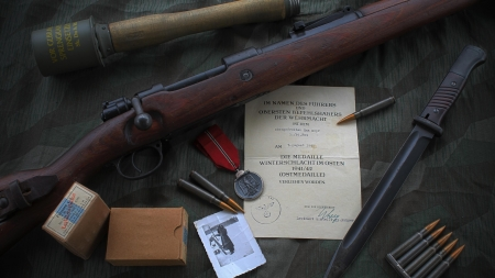 Karabiner 98k Rifle - bullets, gun, Karabiner 98k, world war 2, weapon, Rifle, vintage