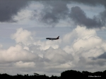 Aircraft in stormy skies