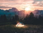 Camping in Sunset Landscape