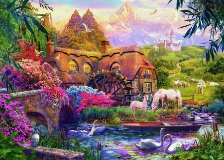 Around The Old Mill - cottage, creek, artwork, swans, horses, watermill, bridge, painting, flowers, castle, firds