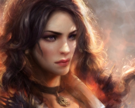 Yennefer - frumusete, luminos, orange, the witcher, yennefer, game, fantasy, girl, face, portrait, enshanlee
