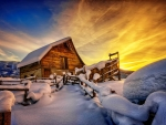 Wooden mountain house in winter