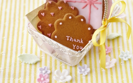 Thank You Gift - brown, lace, striped, yellow, bow, silver, flower shape, sweet, leaves, table cloth, marzaphan, pink, curves, cloth, ribbon, hearts, cookies, cute, thank you, basket, wire, white