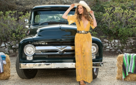Cowgirl Gia Ramey and a Classic Ford Pickup - dress, cowgirl, ford, blonde, hat