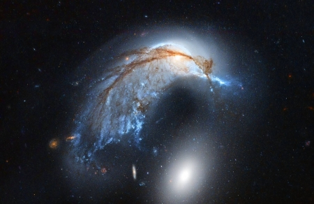 The Porpoise Galaxy from Hubble - stars, fun, cool, galaxies, space