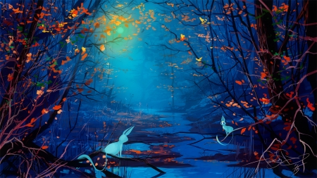 magical blue forest fantasy abstract background wallpapers on