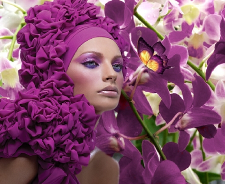 Exotic - artistic, pretty, stunning, female, beautiful, soft, creative, woman, floral, girl, fuschia, flowers, lady, gorgeous