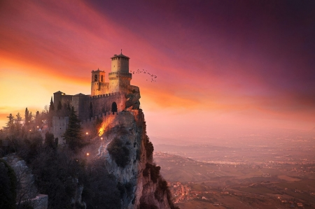 ♥ - castle, abstract, ancient, sky