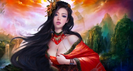 Asian Beauty - red, pretty, art, beautiful, woman, fantasy, girl, digital, long hair