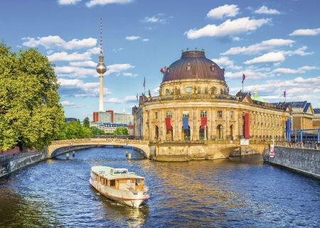Berlin Museums - city, ship, TV Tower, bridges, trees, river, germany, building