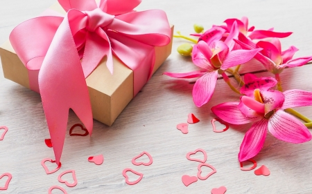 Happy Valentine's Day! - orchid, flower, bow, valentine, gift, pink, card