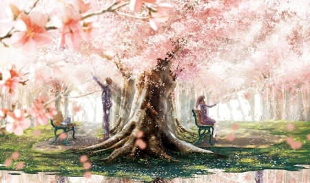 Cherry Blossom - pretty, beautiful, woman, cherry blossom, students, anime, flowers, beauty, anime girl, pink, couple, female, lovely, man, tree, boy, girl, uniform, petals, lady