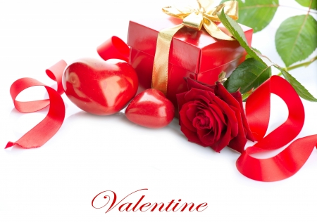 Happy Valentine's Day! - red, rose, ribbon, valentine, gift, card, green, heart, white