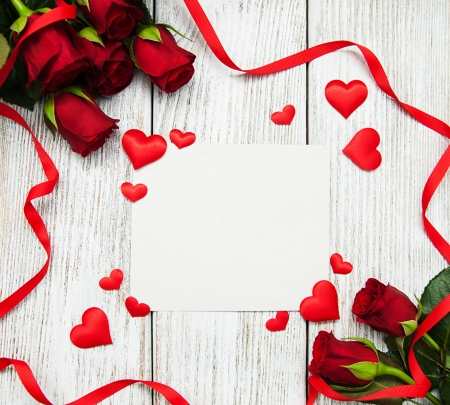 Happy Valentine's Day! - red, rose, ribbon, heart, valentine, white, card