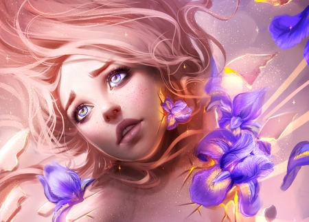Iris - art, frumusete, luminos, fantasy, girl, ayyasap, purple, flower, face, eyes, pink, iris