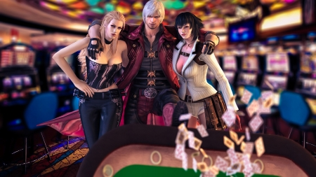 Trish, Dante and Mary - dante, game, man, devil may cry, card, fantasy, girl, trish, trio, mary