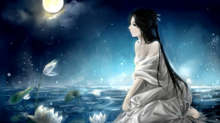 Silver Luna - art, fantasy, moon, lotus, girl, lunar, orginal, long hair