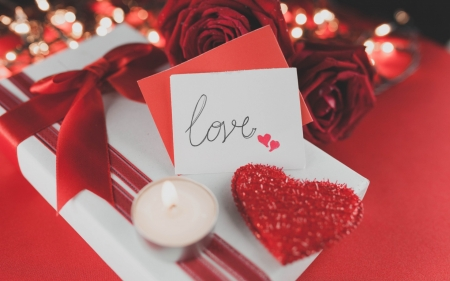 Special day ♥ - red roses, candle, romance, valentine day, velvet, ribbon, gift, love, heart