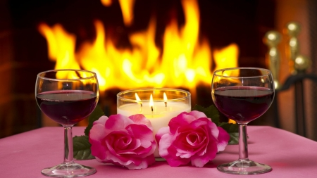 •ღ❤ღ• - flower, candle, valentine, toast