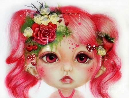 Rosie Valentine - elf, love four seasons, roses, Valentines, fantasy, weird things people wear, child, girls, beloved valentines, drawings