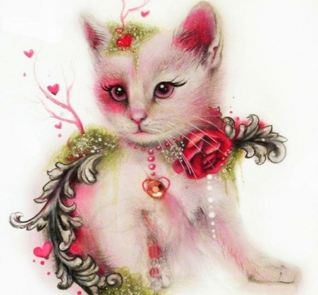 Valentine Kitty - kitty, love four seasons, roses, hearts, fantasy, weird things people wear, beloved valentines, drawings, cats, animals