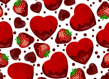Happy Valentine's Day! - pattern, red, strawberry, chocolate, cart, valentine, fruit, green, heart, texture, paper, white