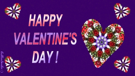 Happy Valentine's Day, Everybody! :D - designs, holiday, scarlet, February 14, hearts, floral, Valentines, crimson, purple, va1entine, love, heart, flowers, violet