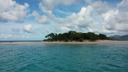 Sandy Cay - vacation, ocean, sailing, waves, trees, sky, clouds, tropical Island, sea, beach, sand, water, island, tropical, blue