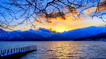 Snowy Mountain - sunset, trees, lake, lights, snow, bridge, mountains, nature, reflection