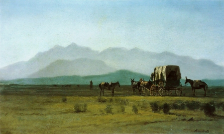 Surveyors Wagon In The Rockies  - Surveyors Wagon In The Rockies, art, skill, Albert Bierstadt, rare, painter, color, Painting, 1859, value, vintage