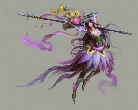 Fantasy Warrior - staff, warrior, fantasy, woman