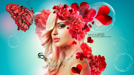 Happy Valentine's Day! - red, valentine, creative, tony kokhan, fantasy, butterfly, girl, orchid, heart, flower, blue