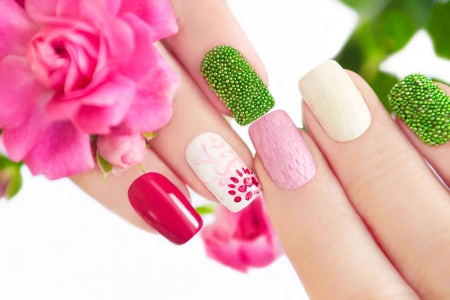Spring manicure - green, manicure, flower, hand, spring, woman, pink, nail