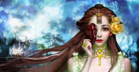 Girl and Comb - pretty, art, comb, beautiful, woman, jewelry, hair, fantasy, girl, digital, asian, beauty, classic, flower in hair