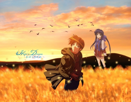 Hope's Dream - Couple, Mai, Anime, Mai Kawasumi, Kanon, Kawasumi, Field, Sunset, Birds, School Uniform, Long Hair, Yuuichi, Yuuichi Aizawa, Aizawa, Brunette, Seifuku, Big Eyes, Purple Hair, White Lights