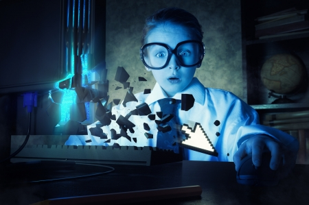 Just an outbreak of a mouse pointer - copil, john wilhelm, blue, fantasy, pointer, mouse, white, funny, situation, assses, girl, child, creative, glasses