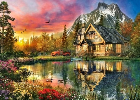 A Breath of Fresh Air - Cottage F2 - art, water, cottage, scenery, cabin, landscape, wide screen, beautiful, architecture, artwork, lake, painting