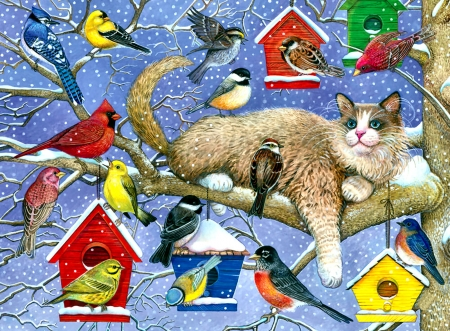 Party Crasher - Cat F - robin, animal, chickadee, bluebird, songbirds, sparrow, feline, beautiful, house finch, Blue Jay, art, cats, goldfinch, pets, cardinal, wide screen, artwork, painting