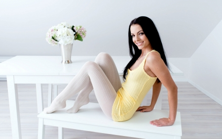 Stunning Sapphira - smile, brunette, stockings, model