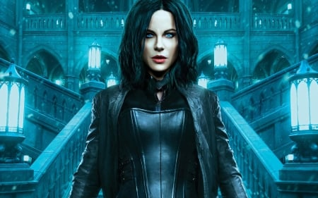Underworld: Blood Wars (2016) - Kate Beckinsale, actress, blue, vampire, fantasy, woman, blood wars, underworld, girl, movie, poster
