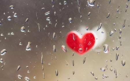 Heart - valentine, rain, heart, water drops, glass, red