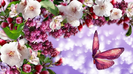 Spring Venture - lilacs, bokeh, cherry blossoms, Firefox Persona theme, apple blossoms, spring, sakura, butterfly