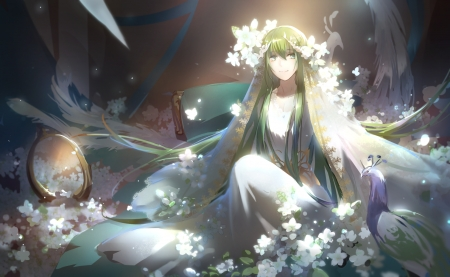 Fate Grand Order - pretty, lovely, peacock, beautiful, sweet, cute, girl, anime, flowers, beauty, anime girl, green hair, long hair
