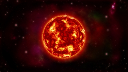 Big Sun - red, sun, planet, galaxy