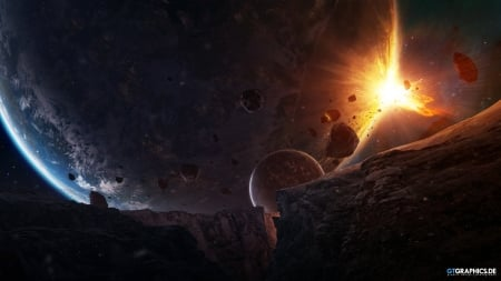 Sudden Encounter - planets, 3d, galaxies, asteroids, space