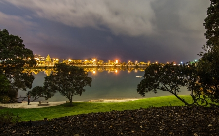 New Zealand - Auckland, embankment, New Zealand, evening, table, lights, clouds, river, lawn, Mechanics Bay, trees, benches